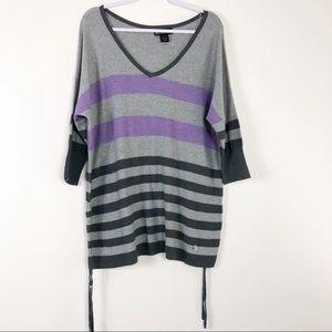 Lane Bryant Sweater Stripe V Neck Dolman Sleeve 14